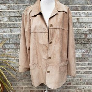 Vintage St John's Bay Suede Car Coat Jacket XL